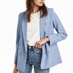 H&M Light Blue Plaid Blazer (NWT)